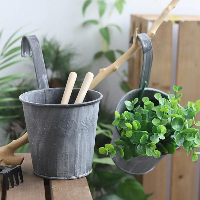 Dollhouse Miniature Garden Accessory Hanging Rattan Basket Pot Green Plant