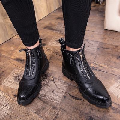 ieftin la reducere site autorizat magazin Barbati toamna Retro piele cizme casual piele pantofi rotund cap ...
