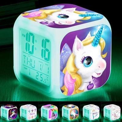 Discoloration Unicorn Alarm Clock Creative Night Light Led Digital Alarm Clocks Student Desk Clock Children's Gifts