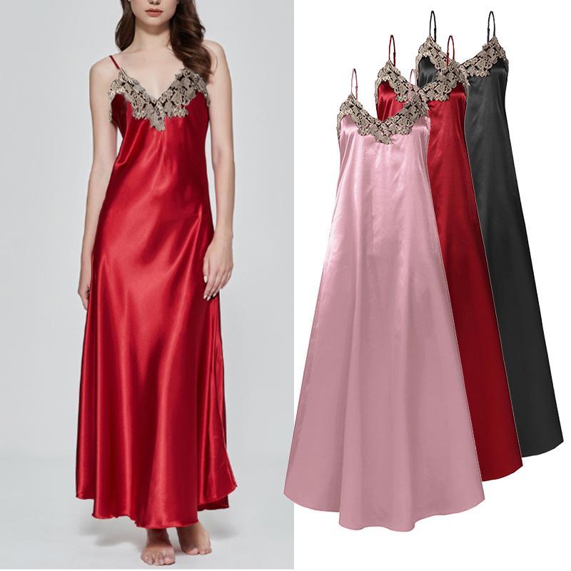 ЗАНЗЕА Сези Летние дамы Sleepwear платье Глубоко V Рукавбеза Длинные цветочные ночные платья Ночные платья – купить по низким ценам в интернет-магазине Joom