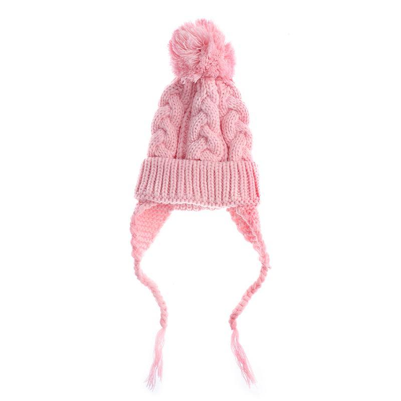 Unisex niño oído aleta Beanie Pom Pom sombrero lana ganchillo ...