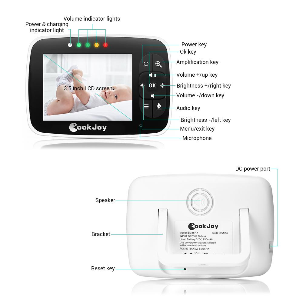 COOKJOY 3.5/'/'LCD 2.4GHz Video Baby Monitor Camera IR Night Vision Two-Way Audio