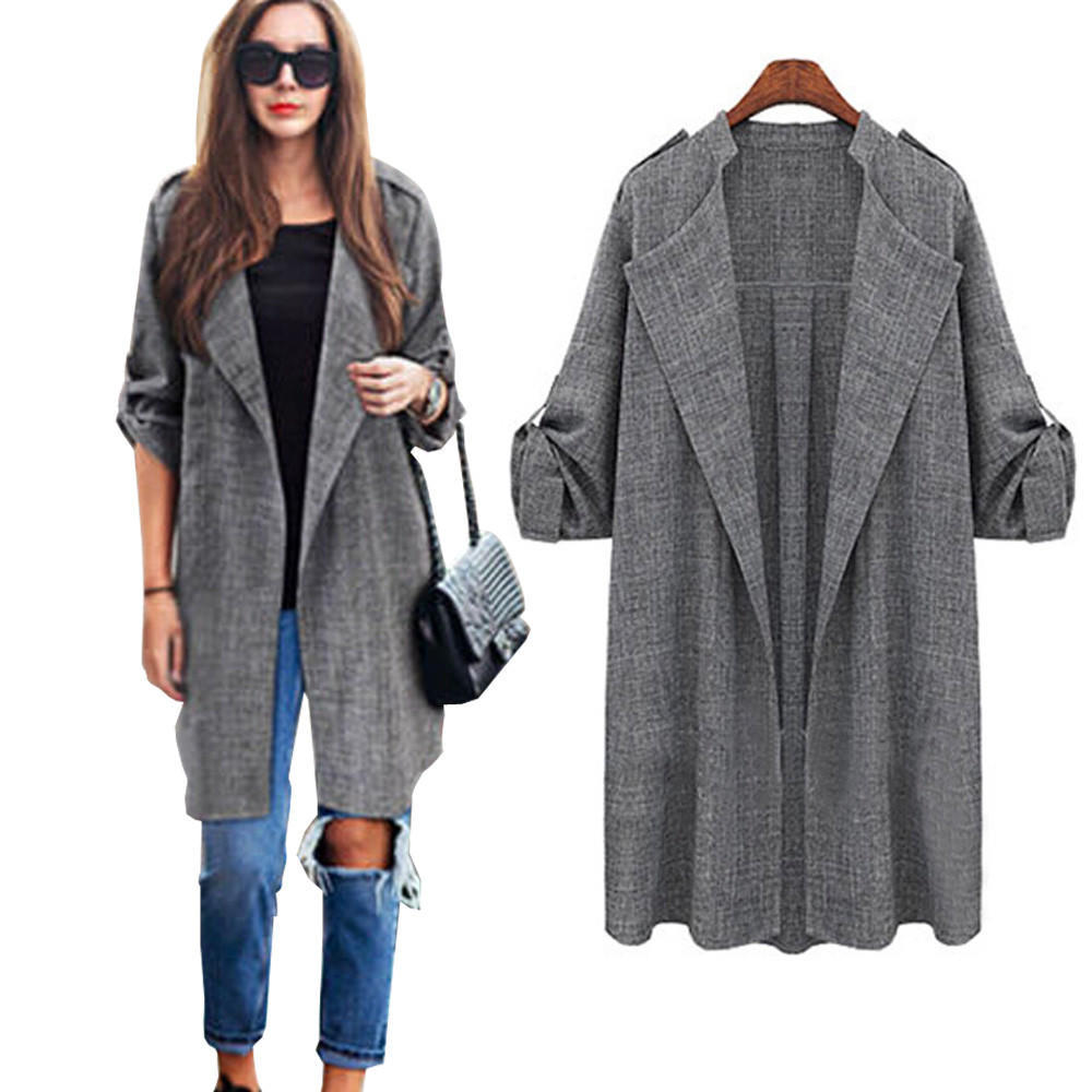 cappotto Giacche Open mantello lungo Womens frontale Trench xtFqB 67d419b53895