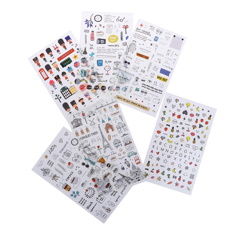 6 pcs//pack European Travel Paper Sticker Decoration Diary Scrapbooking Label S