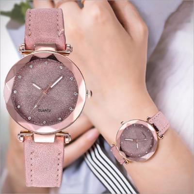 New Fashion Starry Sky Watch Women Frosted Belt Quartz Watch