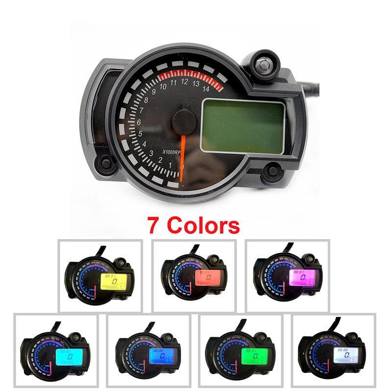 15000rpm LCD Digital Speedometer Tachometer Set Odometer  RX2N Gauge LED