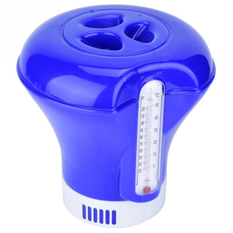 """Floating Pool Chemical Chlorine Feeder 3/"""" Tablet Dispenser w// Thermometer"""