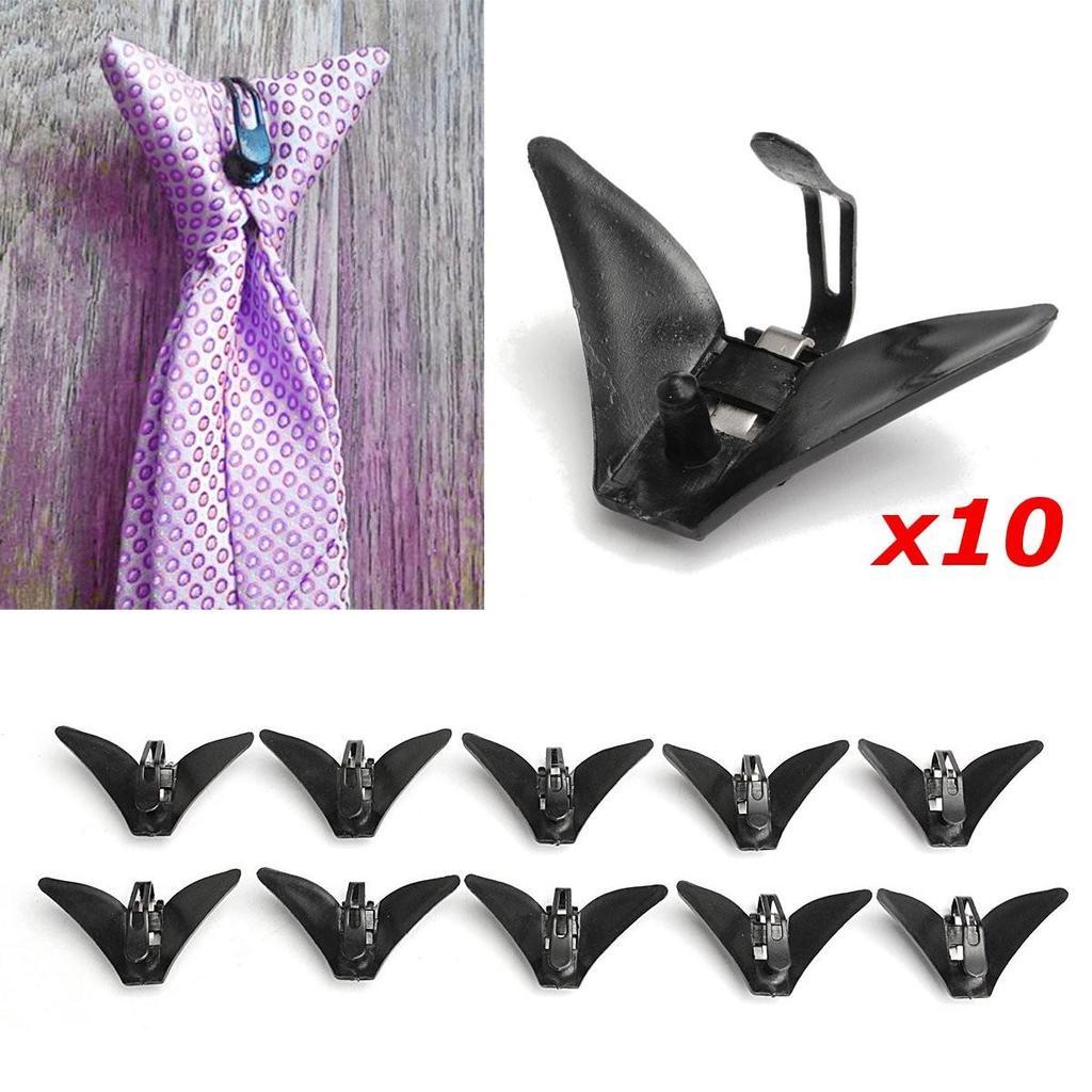 "10pc Plastic Triangle Clasps Clip on Necktie Tie Clips Men Accessories 2.2/""x1.2/"""