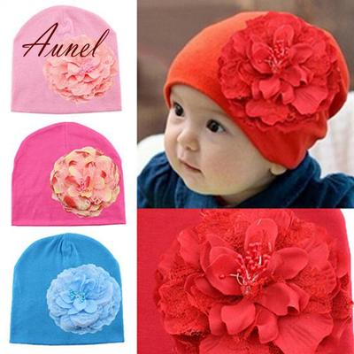 1f4bfb0f389 Modish Girl Peony Flower Weave Hat Infant Cotton Fabric Spring Beanie Cap