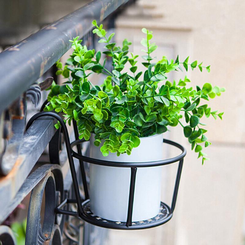 Outdoor Hanging Basket Plant Iron Racks Fence Balcony Round Flower Pot Decor