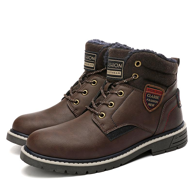 Pumoes Mens Leather Snow Boots Winter Warm Waterproof Leather Lined Ankle Boot Vintage Hand Stitching Flats Oxfords Outdoor Lightweight Anti-Skid Hiking Boots Casual Comfort Chukka Boot