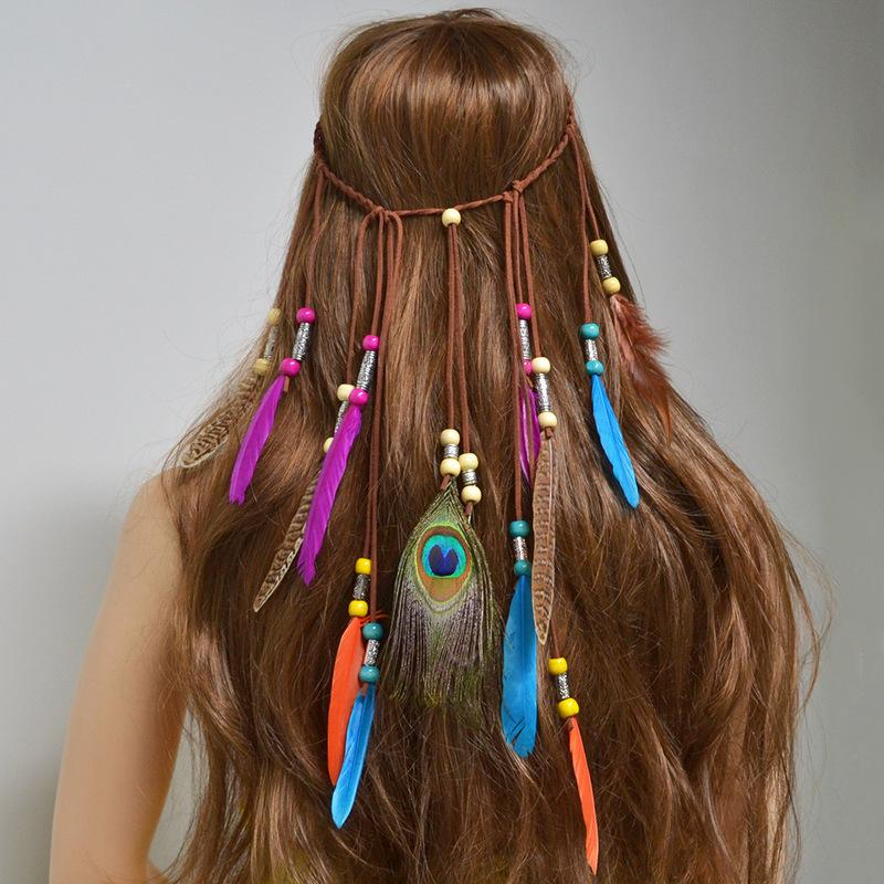 Femmes plume Boho Tassel Bandeau Indian Tribal Hippie cheveux coiffure