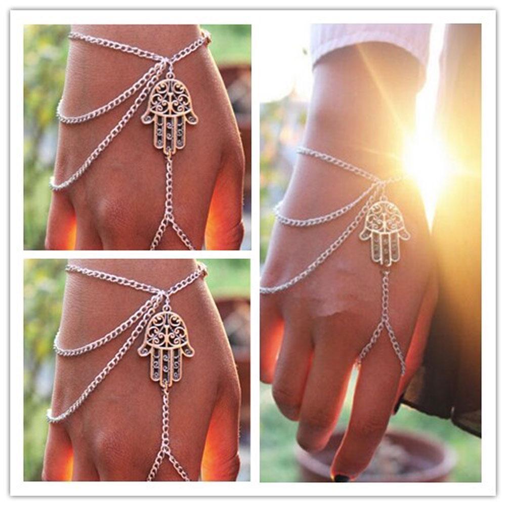 Silver Colour Asymmetric Hamsa Hand Bracelet Lucky Harness Slave Hand Chain Ring