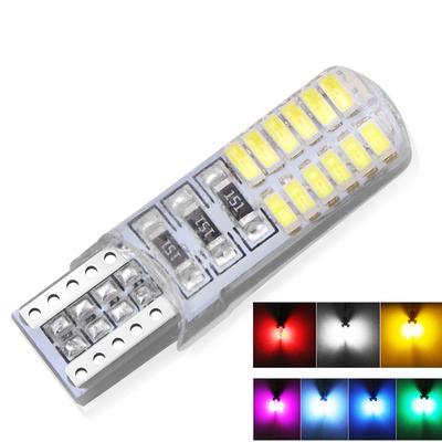 2x Car T10 6LED RGB Clearance Light Silica Gel Reading Light Bulb Lamp w// Remote