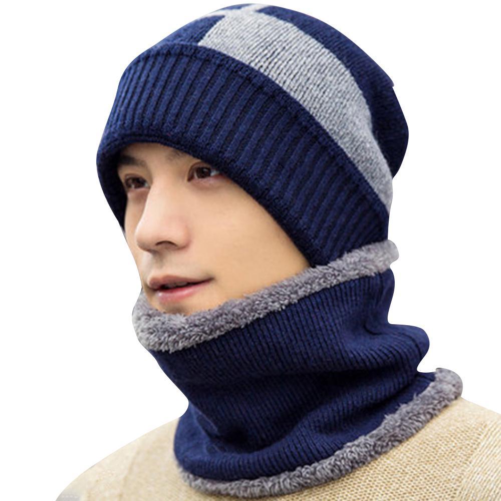 2a072c677f995 Winter Men s Beanie Hat Scarf Set Knit Hat Warm Thick Hat Earmuffs ...