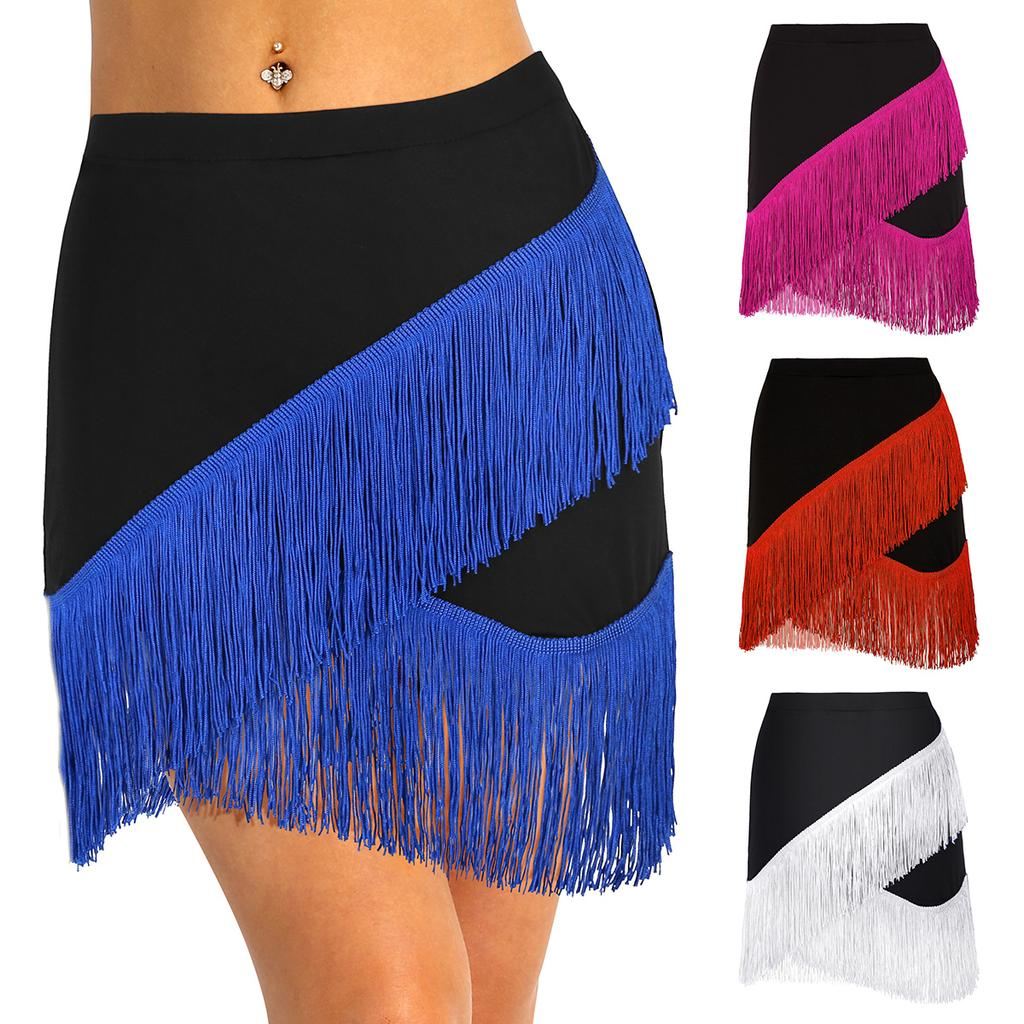 Latin Dance 2 Layers Fringe Short Skirt with//without Shorts inside 5 Colors