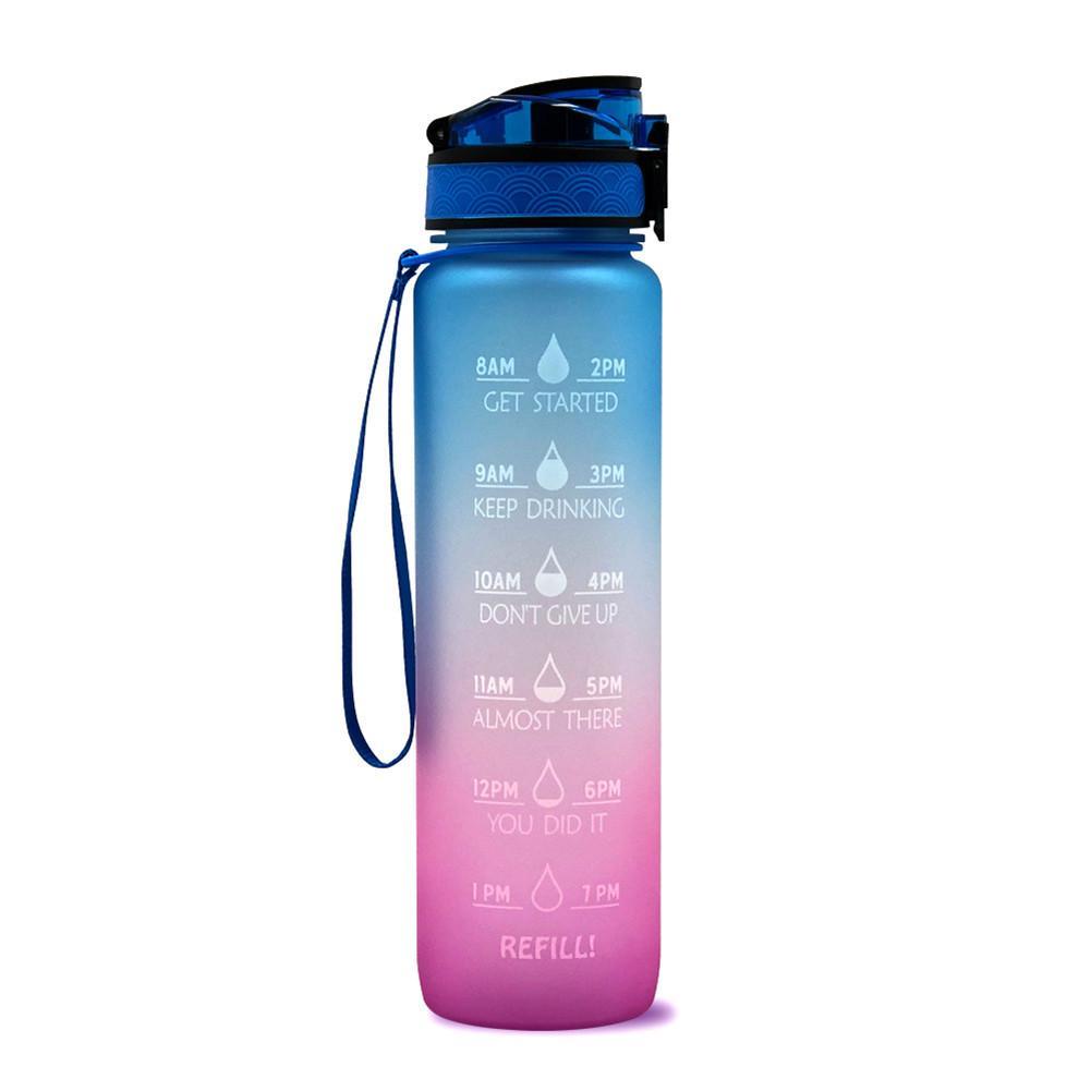 1 litro in plastica Tritan smerigliata senza BPA Borraccia motivazionale con indicatore del tempo