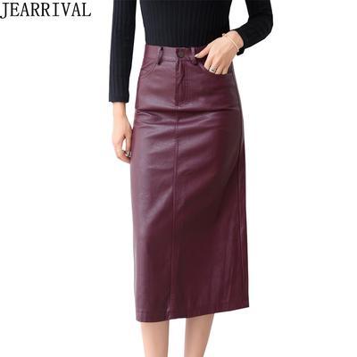 b2c49c28f45 Осень зима мода пу длинная юбка Корейский женский высокой талии тонкий  Bodycon Сплит кожа Saia Jupe
