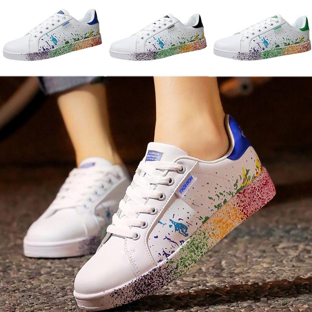 Women Men Fashion Couple Colorful White Shoes Sport Board Sneakers PSH
