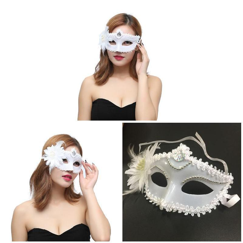 GOLD OR WHITE VELVET EYE MASK WITH FEATHERS ON HEADBAND ADULT FANCY DRESS PROP