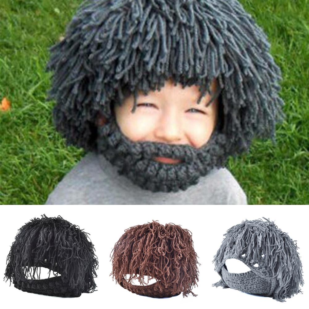 6e7adcc85bd Winter Warm Beard Hat Moustache Cospaly Barbarian Looter Knit ...