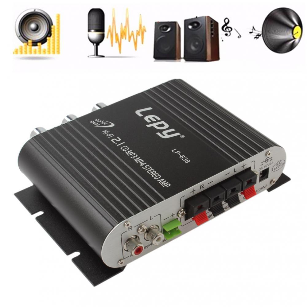 Lepy Lepai LP-838 12V Super Bass Hi-Fi 2.1 3 Stereo Amplifier AMP