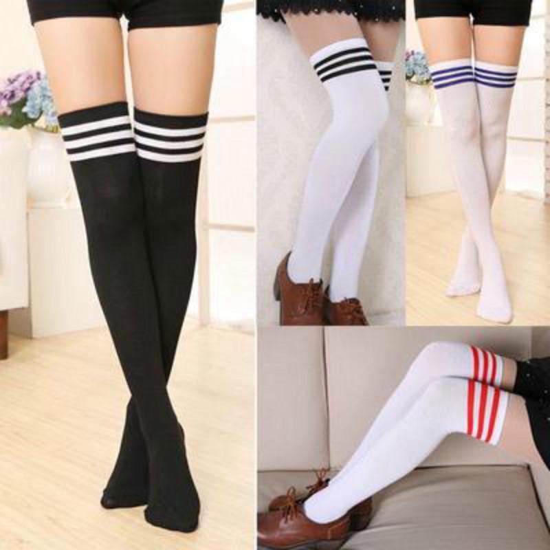 Womens Thick Stripe Football Over the Knee High Girls Socks 4-6 UK Lot