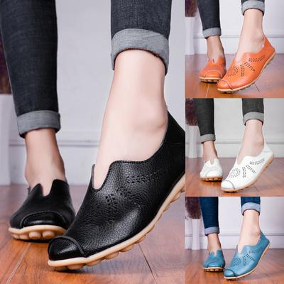 [Coconut Tree] Women's Comfortable Leather Hollow Printed Flat Casual Loafers Single Shoes