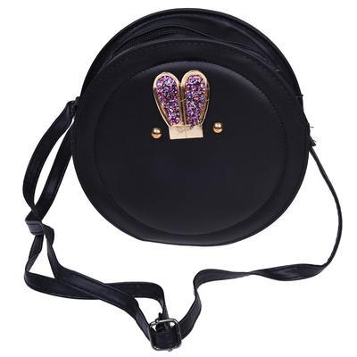b8d50a1ffd85 Women Messenger Bags Small Mini Crossbody Bag Circular Bag For Girls Cute  Handbag (Black). Price  13 · Women Girl Rabbit Ear Round Leather Handbag  Shoulder ...