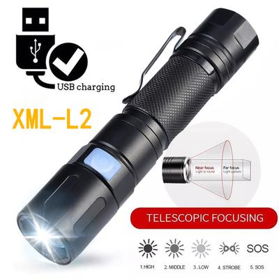 Zoomable 5 Modes USB Camping Torch Clip LED XML-L2 Flashlight