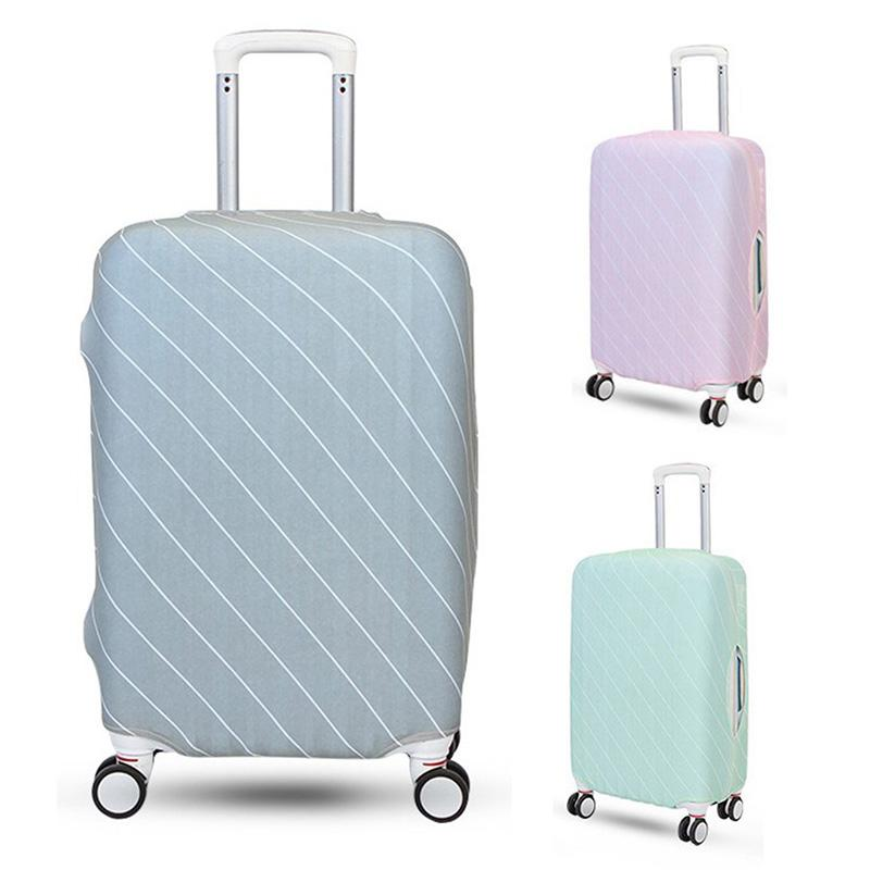 Travel Luggage Cover Orange Floral Pattern Light Blue Suitcase Protector