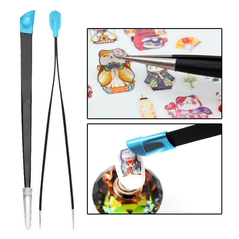 3pcs Acryl Strass Nailart Pinsel Silikon Kopf Carving Salon Werkzeug Lila