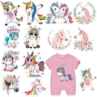 Little Unicorn Patch Iron Baby Clothes Girls Boys Iron On Clothes Diy Accessory Stickers Heat Transfer Patches For Clothing