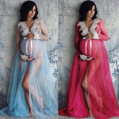 Pregnant Women Lace Maternity Dress Bodycon Long Maxi Gown Photography Props