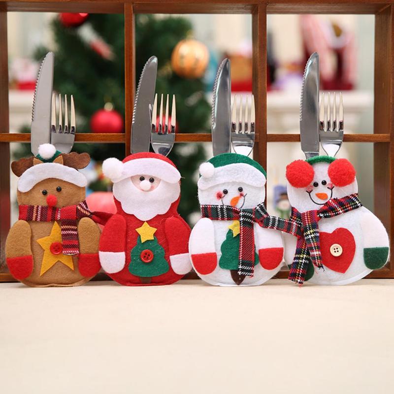 Christmas Santa Hat Plaid Scarf Cup Bottles Cover Silverware Holder Home Christmas Decor 20 Pcs Mini Santa Hat and Christmas Scarf