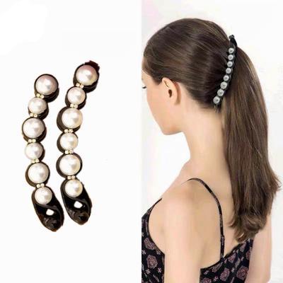 Frauen Perle  Banane Haarspangen Twist Clamp Haarspange Pferdeschwanz Inhaber