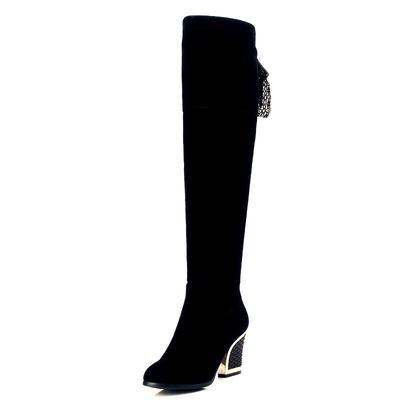 damas rodilla Plaza cremallera tacones la felpa tacón botas invierno Mujer caliente sólido en rebaño wqFFtz