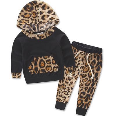 2Pcs Newborn Baby Girls Pink Leopard Hoodie T-Shirt Top Pants Outfits Set