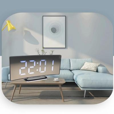 Large Number Table Clock 7 Inch Home Decors LED Curved Screen Digital Alarm Clock For Kids Bedroom Curved Dimmable Mirror Clock