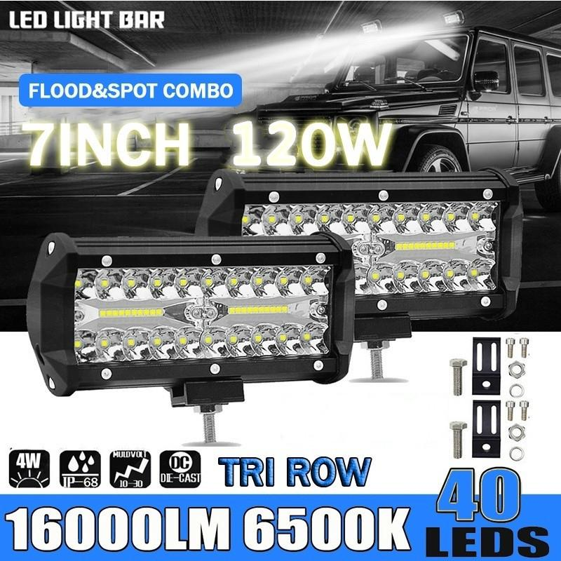 7inch 120W LED Work Light Bar Flood Spot Beam Offroad 4WD SUV Driving Fog Lamp