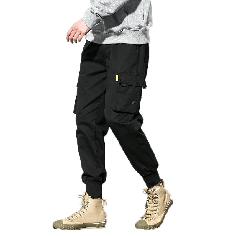 Coolred-Men Solid Beam Foot Multi-Pocket Drawstring Mid Waist Casual-Pants