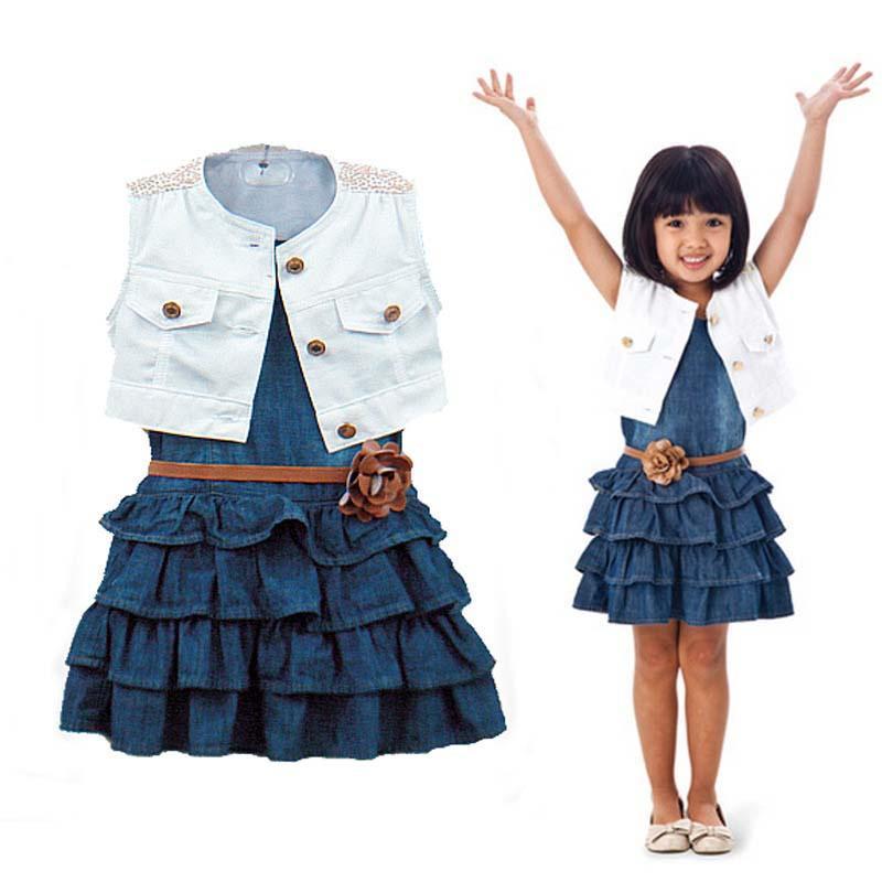 Летних детей наборы куртка слоистых юбки 2pc девочек жилет джинсы наборы фото