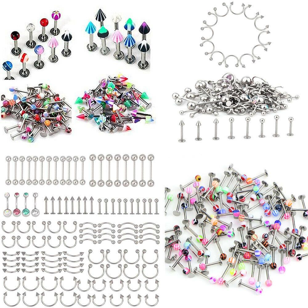 110pcs Body Jewelry Piercing Lot Stainless Steel Nose Ear Navel Belly Ring