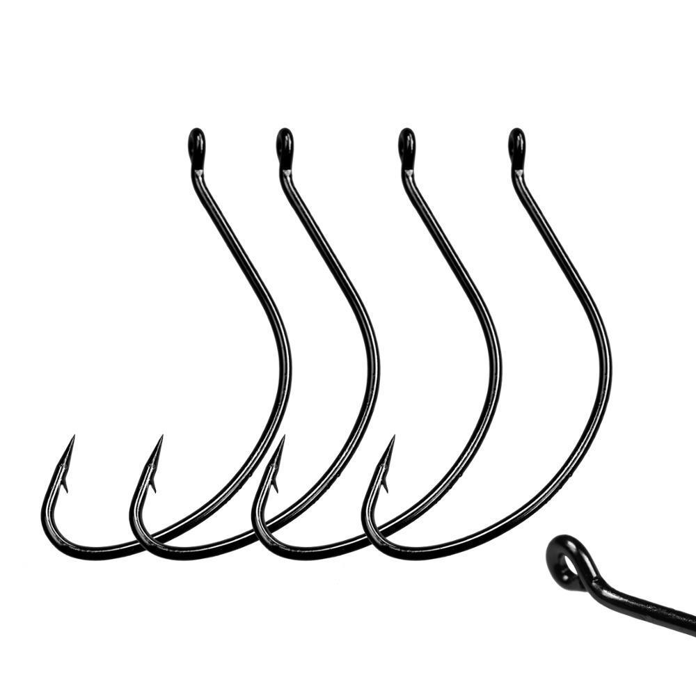 100pcs Narrow Gap Worm Hook Jig Fishing Crank Hook Bass hook for soft worm bait