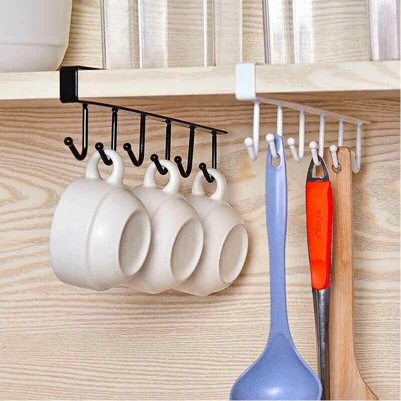 Подвесная стойка с шестью крючками для кухни и ванной комнаты фото