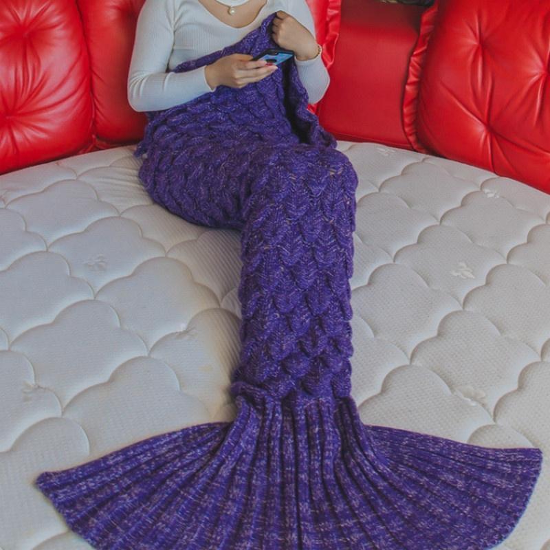 Cola manta hilo de sirena tejido mano Crochet sirena niño lanzando ...