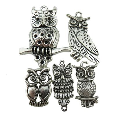 5x Alloy Crystal Owl Charms Pendants for Jewelry Making Hanging Decoration