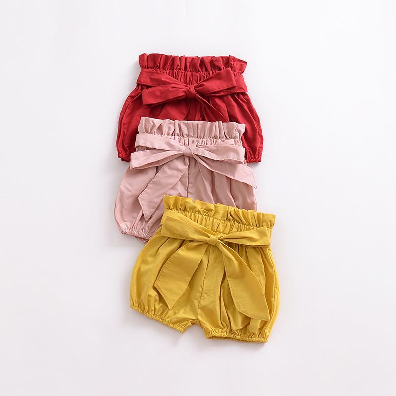 1pcs The Summer Girl Clothes Bow Wooden Ear Bread Pants Shorts Pants PP Pants