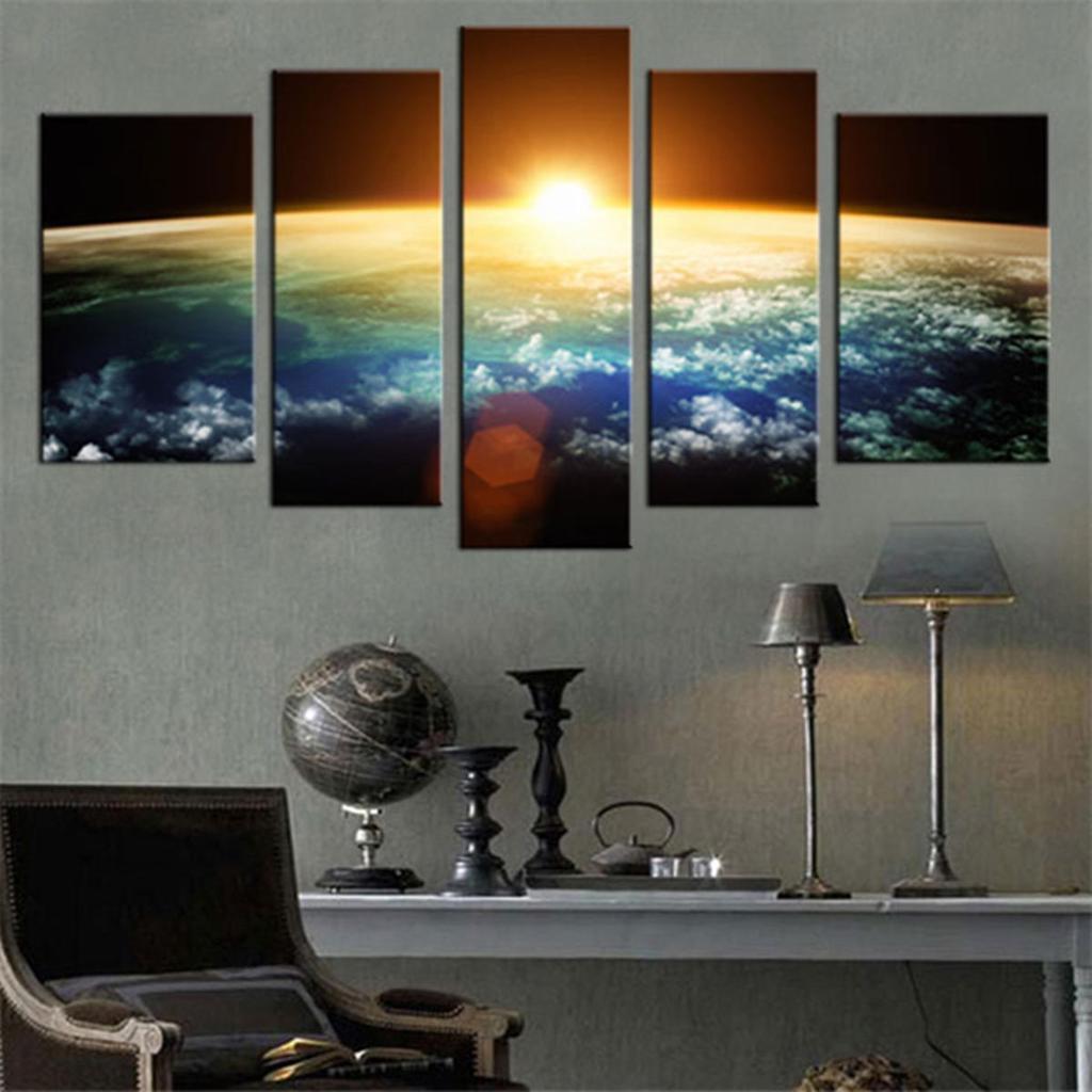 5 Tafeln Erde Canvas Print Wandkunst hängen Gemälde Bild Dekor ohne ...