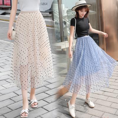 579aec0c60b Весенний шик темперамент высокой талии юбка волны точки плиссированные юбка  сетка длиной слова юбка